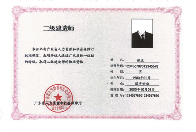 广东省自行组织的资格考试电子证书样式